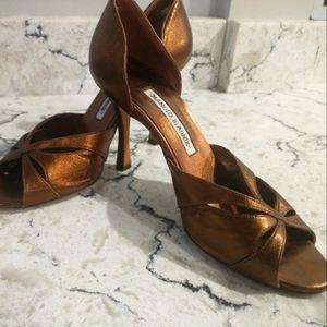 Manolo Blahnik bronze stiletto open toe pump